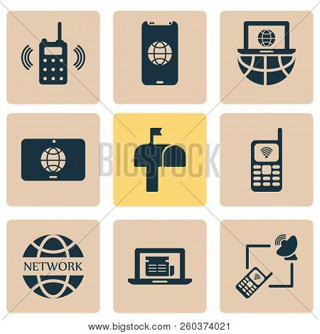 Communication Icons Set With Laptop Communication, Network Communications, Mailbox And Other Postbox