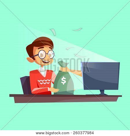 Teenager Winning Money In Internet Cartoon Flat Illustration. Young Boy Happy Receiving Dollars Mone