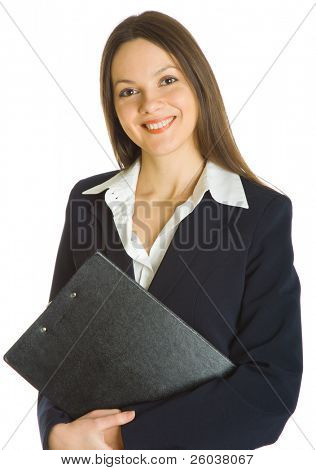 A beautiful businesswoman holding a clipboard. Isolated on white background