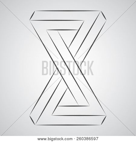 Sketch Geometric Paradox Penrose Figure. Pure Vector Illustration On Gray Background