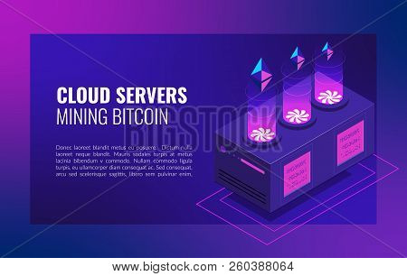 Smart Ethereum Mining Farm. Cryptocurrency And Blockchain Network Business Isometric Vector Illustra