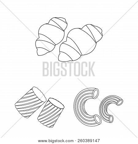 Types Of Pasta Outline Icons In Set Collection For Design. Figured Macaroni For Eating Vector Symbol