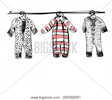 Baby Clothes On Clothesline. Hand Drawn Illustration. Sketch. Newborn Wardrobe