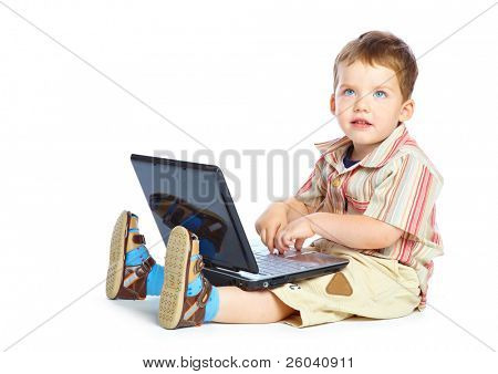 Concept of little businessman. Little child and laptop. Isolated on white background