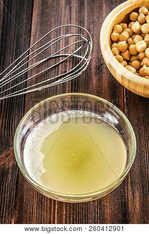 Chickpea Liquid Water Brine Draining. Vegan Aquafaba
