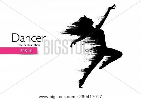 Silhouette Of A Dancing Girl. Dancer Woman. Vector Illustration