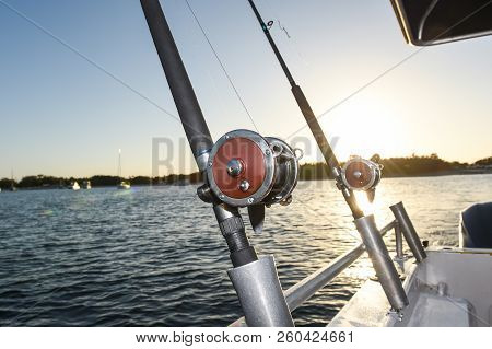 Fishing Rod And Reel On A Charter Boat