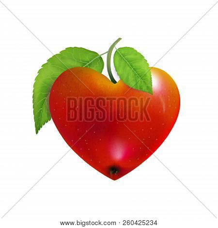 Red Apple Heart Isolated. Modern Valentines Love Sign. Beautiful Fresh Fruit. Vector Illustration Fo