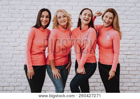 Pink Woman Support Style. Happy Woman Smile Together. Beautiful Girl Photo Tpgether. Lady Support Pe