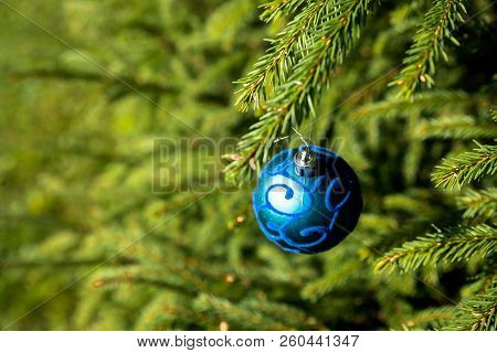 Christmas Background With Blue Ornaments. New Year Party Decoration With Shiny Balls. Copy Space.car