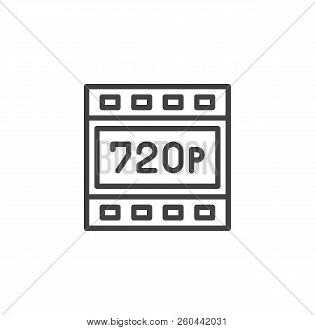 720p Hd Resolution Outline Icon. Linear Style Sign For Mobile Concept And Web Design. Hdtv Quality S