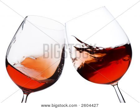 Pair Of Moving Red Wine Glass
