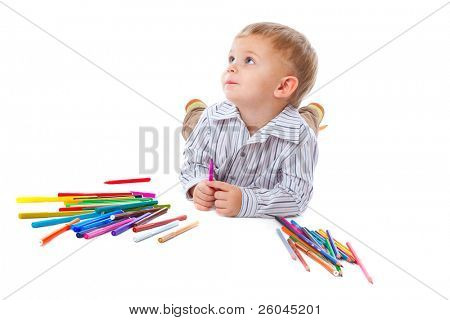 Child with pencils. Isolated on the white background