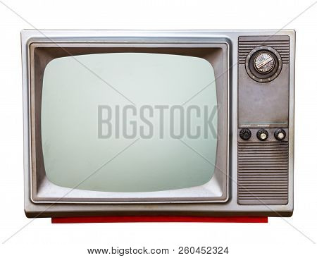 Classic Vintage Retro Style Old  Television With Cut Out Screen,old  Television On  Isolated Backgro