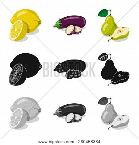 Vector Illustration Of Vegetable And Fruit Symbol. Set Of Vegetable And Vegetarian Stock Vector Illu