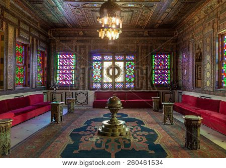 Cairo, Egypt - December 2 2017: Manial Palace Of Prince Mohammed Ali. Syrian Hall With Ornate Wooden