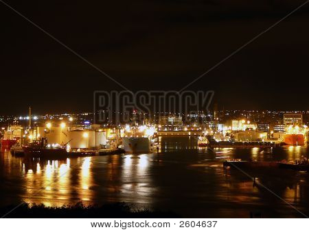 Aberdeen Harbour At Night