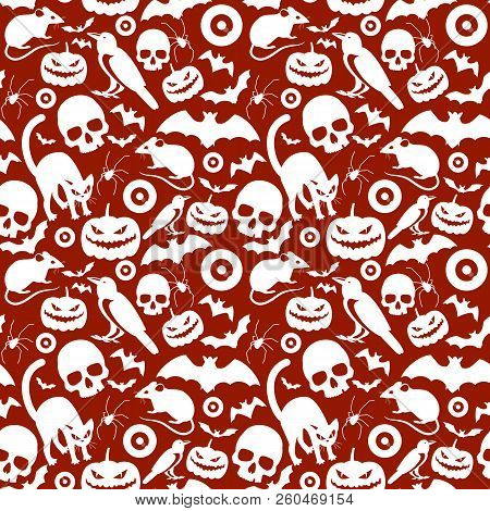 Seamless Red Pattern Composed From White Cartoon Halloween Symbols With  Crows Bats Skulls Laughing