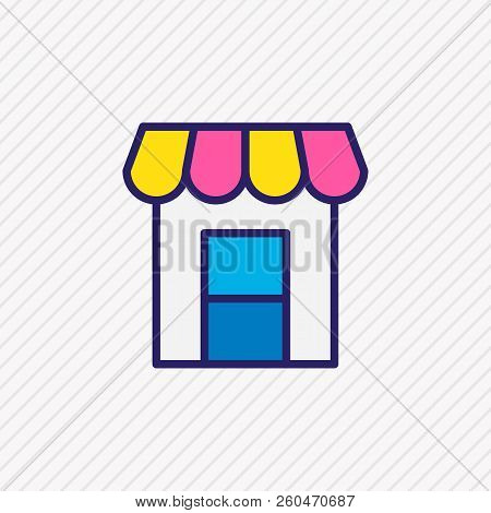 Vector Illustration Of Storefront Icon Colored Line. Beautiful Infrastructure Element Also Can Be Us
