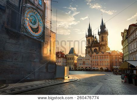 View On Prague Chimes And Tynsky Temple At Sunrise