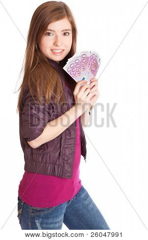 Girl with money in hands. Isolated on white background