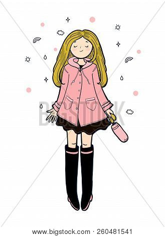 Young Woman In A Pink Slicker Is Enjoying Autumn Weather. Vector Illustration.