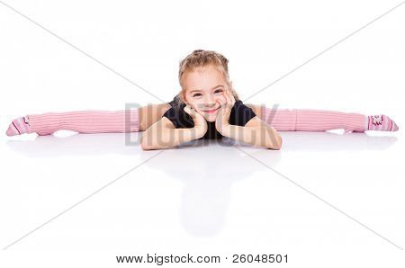 a beautiful girl sits on a splits. isolated on a white background