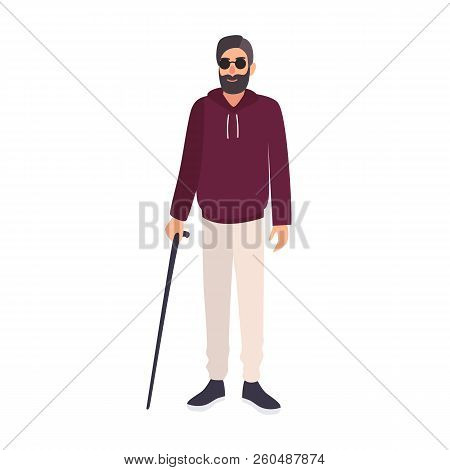 Blind Man Wearing Sunglasses And Holding Cane Isolated On White Background. Male Character With Blin