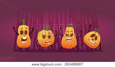 Set Of Cartoon Happy Pumpkin Characters Halloween Heads With Different Emotions And Smiles. Vector I