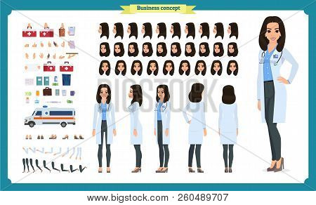 Female Doctor Character Creation Set.front, Side, Back View Animated Character.doctor Character Crea