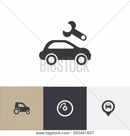 Set Of 4 Editable Vehicle Icons. Includes Symbols Such As Location, Odometer, Vehicle Repair And Mor