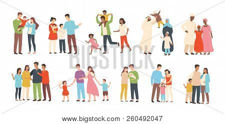 Set Of Happy Traditional Heterosexual Families With Children. Smiling Mother, Father And Kids. Cute