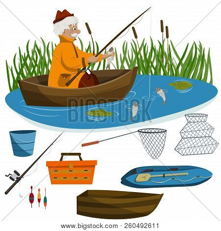 An Adult Man Is Fishing From A Boat On A Lake. Various Fishing Tackles And Boats.