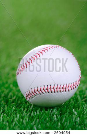 Baseball Ball Against Grass Background