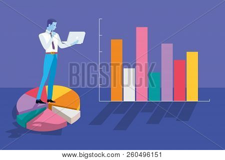 Businessman Analyzing Business Graphs And Statistics. There Are A Pie Graph And Bar Chart