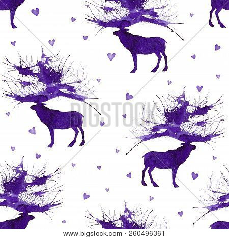 Seamless With Wild Forest Deer On The Background With Hearts. Natural Cliparts For Wedding Design, A