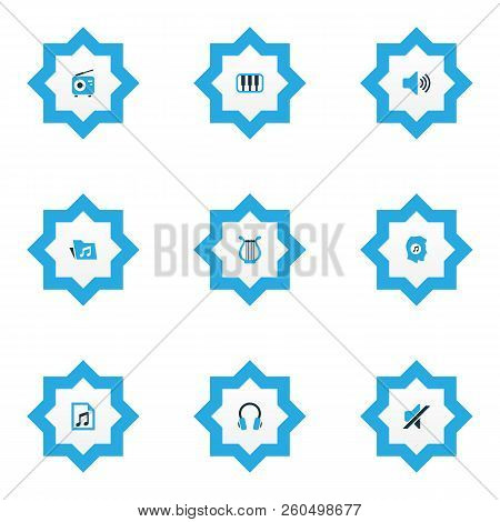 Multimedia Icons Colored Set With Sound, Tuner, Octave And Other Folder Elements. Isolated Vector Il