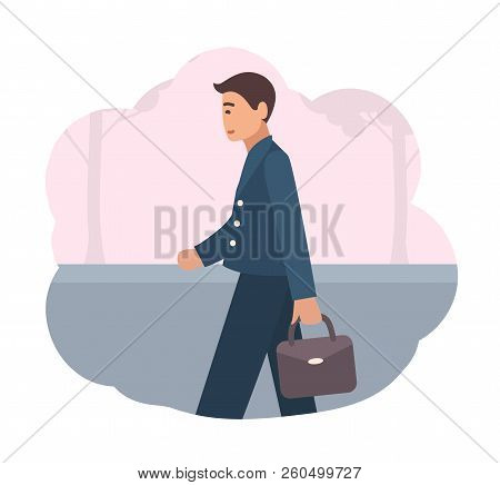 Happy Manager Or Office Worker Dressed In Smart Suit Walking Back Home In Evening. End Of Working Da