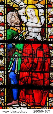 Saint Agatha - Stained Glass In Rouen Cathedral