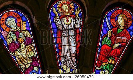 Saint Peter, Jesus Christ And Saint John The Evangelist - Stained Glass