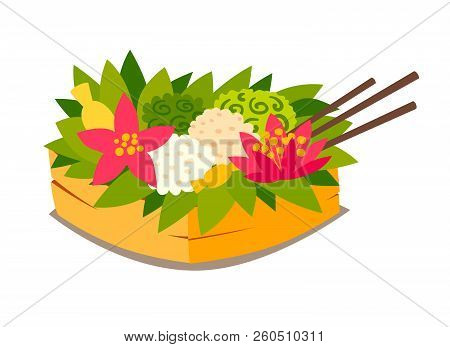 Traditional Ceremonial Basket With Fruit And Food.  Vector Illustration. Bali Culture Art. Tradition