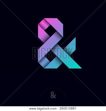 & Origami Letter. Ampersand Ribbons Monogram. Ampersand Logogram, Isolated On A Dark Background. Mon