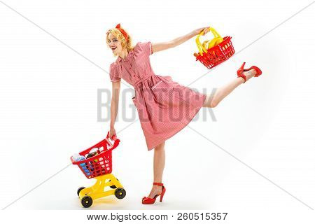 Young And Carefree. Technologies Make Shopping Easier. Full Shopping. Happy Retro Woman Go Shopping.