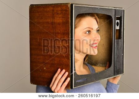 Retro Television. Woman With Retro Television Set On Head. Retro Television Set In Hands Of Girl. Re