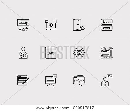 Engine Icons Set. Tags And Engine Icons With Sitemap, Plugin And Seo Consulting. Set Of Professional