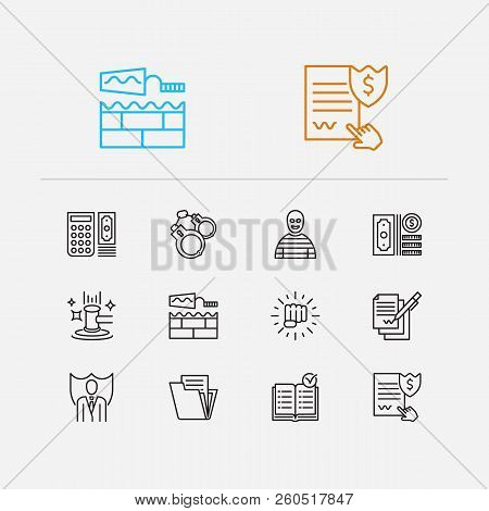 Court icons set. Auction and court icons with penalty, building and document. Set of achievement for web app logo UI design. poster