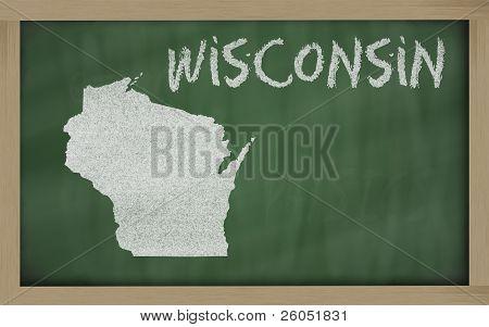 Outline Map Of Wisconsin On Blackboard