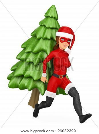 3d Christmas People Illustration. Woman Superhero Running With A Fir Tree On Back. Isolated White Ba