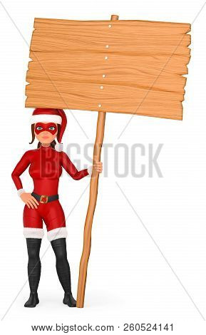 3d Christmas People Illustration. Woman Superhero Standing With A Wooden Blank Poster. Isolated Whit