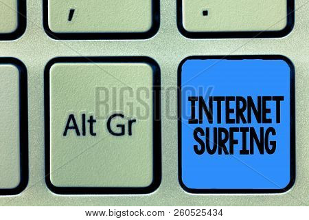 Conceptual Hand Writing Showing Internet Surfing. Business Photo Text Browsing Hundred Of Websites U
